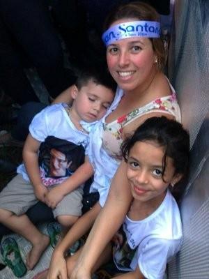 Roseli Filipim levou o filho e a sobrinha (Foto: G1 / Natália de Oliveira)