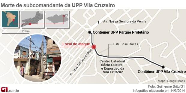 Mapa morte PM UPP Vila Cruzeiro (Foto: Arte G1)