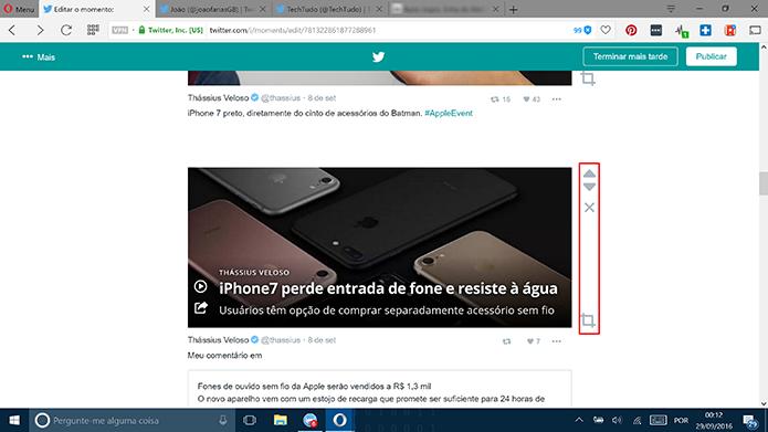 Usuário pode apagar ou mudar ordem de tuítes dentro do Moments (Foto: Reprodução/Elson de Souza)