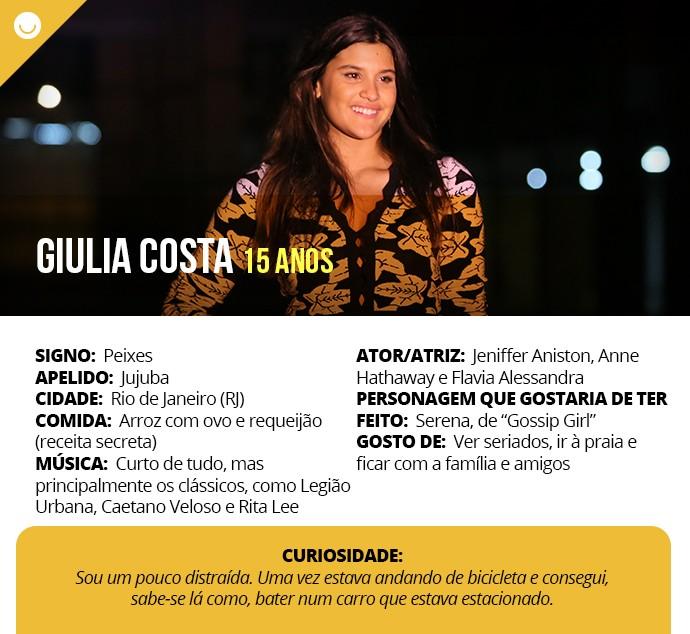 Card com informações curiosas de Giulia Costa (Foto: Gshow)