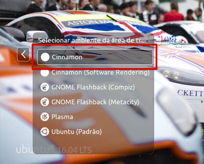 Na tela de login, clique na bolinha acima do nome de usuário para selecionar o Cinnamon (Foto: Reprodução/Filipe Garrett)