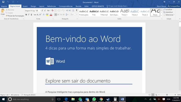 Word 2016 (Foto: Reprodução)