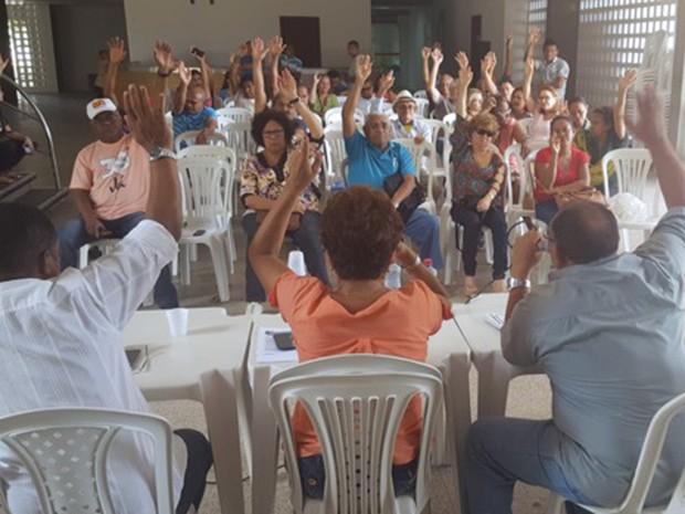 Durante encontro na capital trabalhadores da Educação aprovaram realização de assembleias periódicas (Foto: Divulgação/Sintema)
