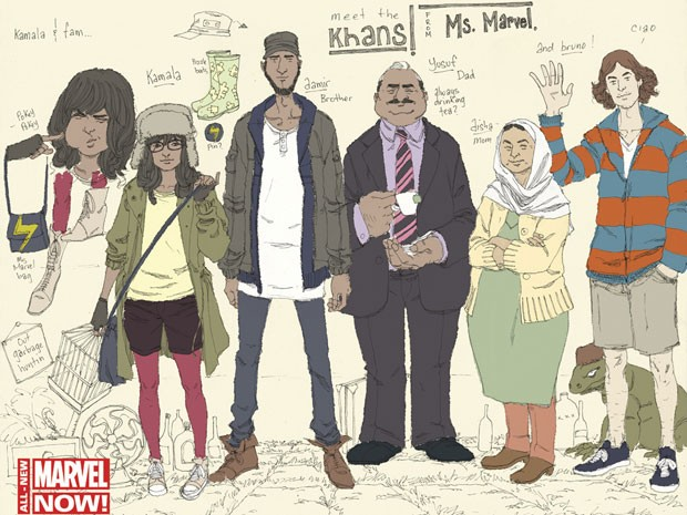 Personagens da nova HQ da Marvel, sobre adolescente muçulmana; Kamala Khan é a segunda a partir da esquerda, e a seu lado estão Aamir (seu irmão), Yusuf (seu pai), Disha (sua mãe) e o amigo Bruno (Foto: Reuters)