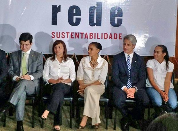 Marina participa do ato de lançamento das bancadas da Rede Sustentabilidade na Câmara e no Senado (Foto: Laís Alegretti / G1)