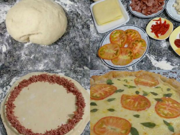 Passo a passo de pizza com borda recheada de calabresa (Foto: Arquivo Pessoal/ Ricardo Cavagna)
