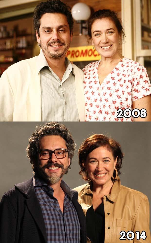 Lilia Cabral e Alexandre Nero vivendo casal em dois momentos (Foto: Fabrício Mota/TV Globo e Raphael Dias/TV Globo)