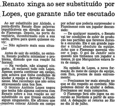 Renato xingou Antônio Lopes, então técnico do Fla, ao ser substituído (Foto: Reprodução/Acervo O Globo)