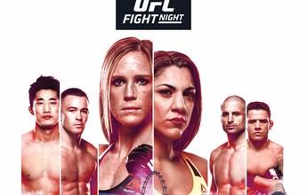 Pôster do UFC Singapura tem Holm e Bethe Correia com a cidade abaixo