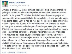 Postagem permanece na página do prefeito de São Carlos no Facebook (Foto: Reprodução/Facebook)