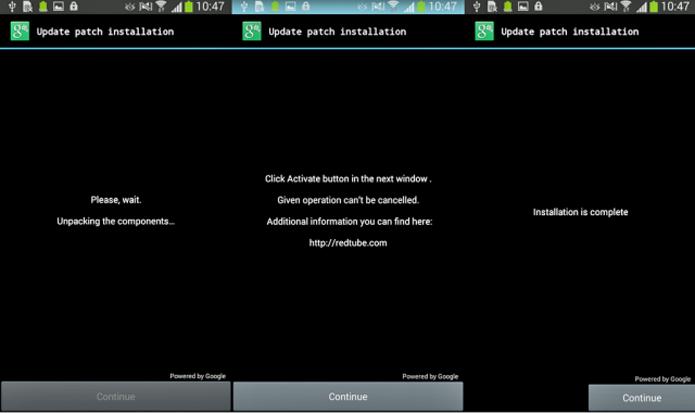 Ao clicar no botão Continue, usuário dá acesso de administrador ao vírus que sequestra o smart (Foto: Divulgação/Eset)