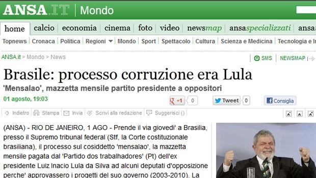 A agência italiana 'Ansa' destaca que o mensalão ocorreu na era Lula (Foto: Reprodução)