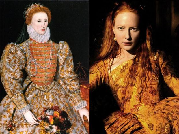 'Darnley portrait of Elizabeth I of England', de autor desconhecido, e Cate Blanchett em 'Elizabeth' (Foto: Divulgação/National Portrait Gallery/Divulgação)