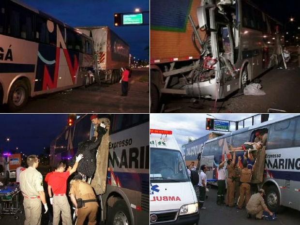 Vítimas estavam todas no ônibus e foram levadas para hospitais locais  (Foto: Reprodução / RPCTV)