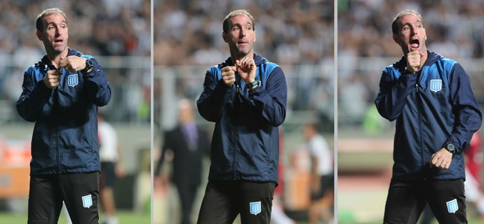Membro da comissão técnica do Racing; gesto banana; Atlético-MG x Racing; Libertadores (Foto: Futura Press)