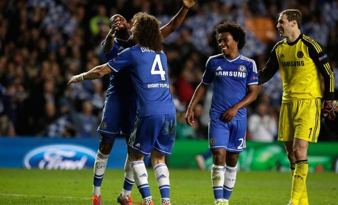 David Luiz e Willian Chelsea x PSG (Foto: AP)