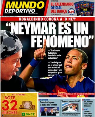 Mundo Deportivo Neymar Ronaldinho (Foto: Reprodução / Mundo Deportivo)