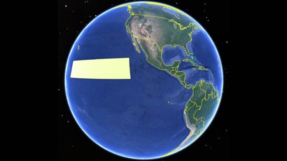 A tarja amarela representa a região da Clarion-Clipperton (Foto: ISA)