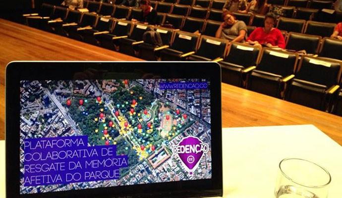 Mapa colaborativo do Parque da Redenção, em Porto Alegre (RS), criado pela startup Lung para a Unisinos.