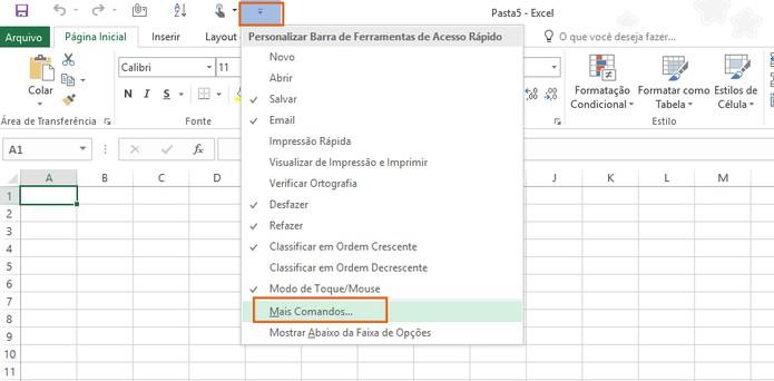 Acesse mais comandos para atalhos no Excel 2016 (Foto: Reprodução/Barbara Mannara)