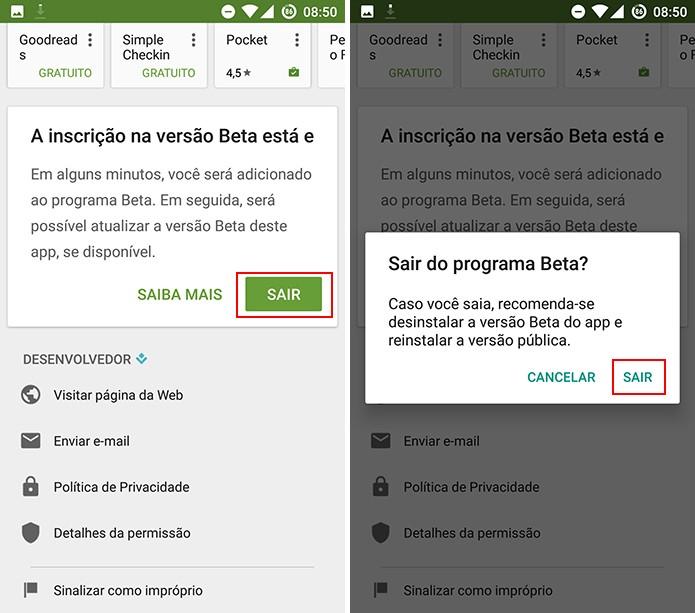 Play Store tem opção para sair de programa de testes caso app beta cause problemas (Foto: Reprodução/Elson de Souza)