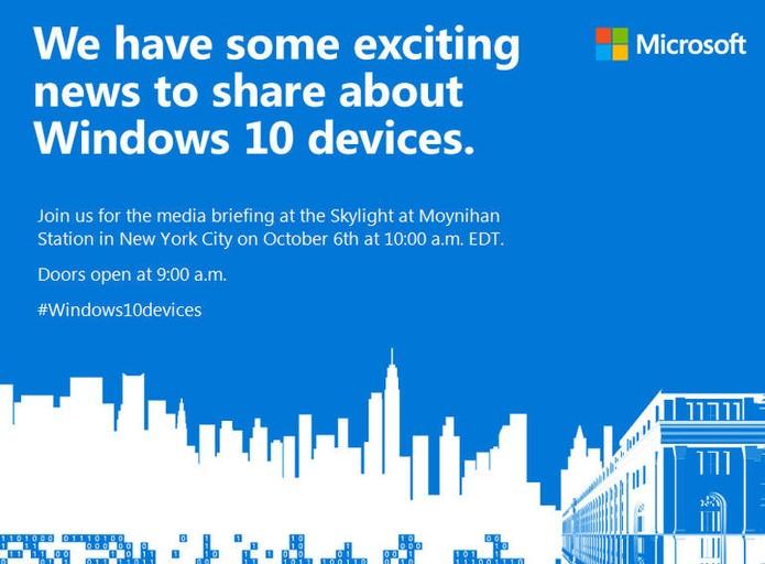 Microsoft fará evento no dia 6 de outubro com novidades para o Windows 10, Lumia e Surface (Foto: Divulgação/Microsoft)