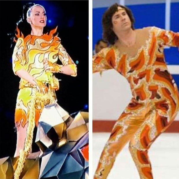 Katy Perry canta no Super Bowl e Will Farrell no filme Escorregando para a glória (Foto: Instagram/ Reprodução)
