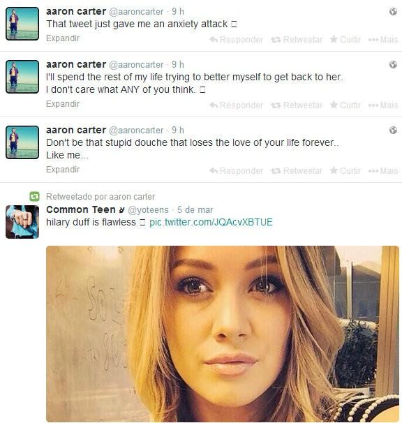 Aaron Carter usou seu twitter para se declarar para ex, Hilary Duff (Foto: Instagram)