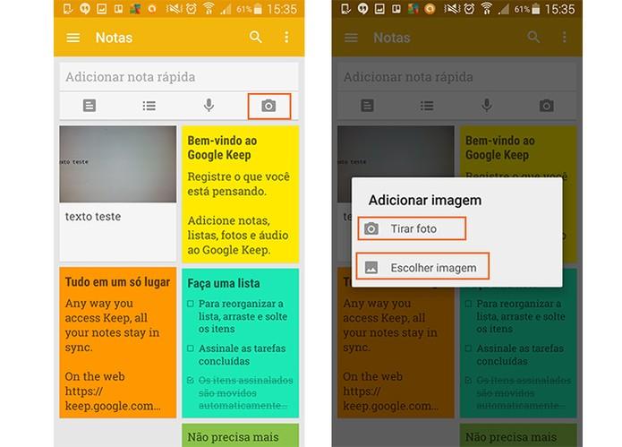 Abra o Google Keep para escolher a imagem que deseja extrair o texto (Foto: Reprodução/Barbara Mannara)