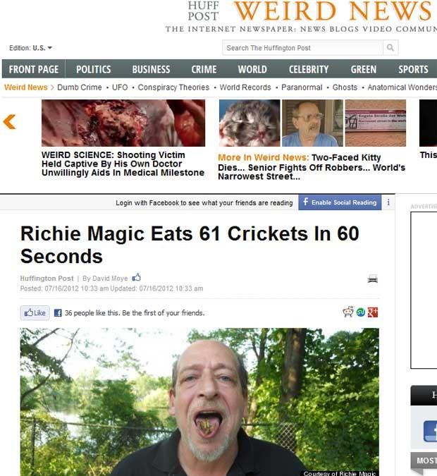O americano Richie Magic comeu 61 grilos em um minuto (Foto: Reprodução)