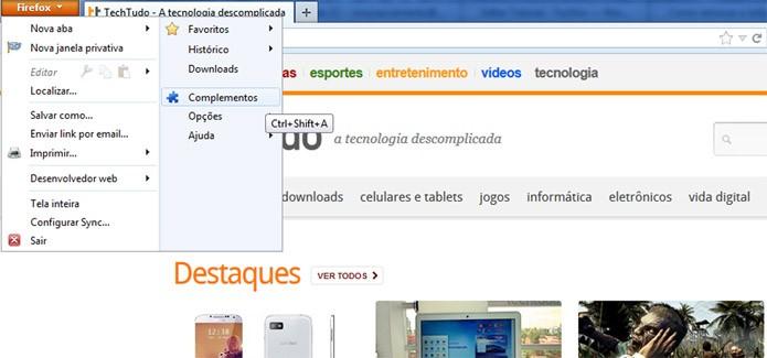 Encontrando o painel de complementos no Firefox (Foto: Reprodução/Vinícius Sacramento)