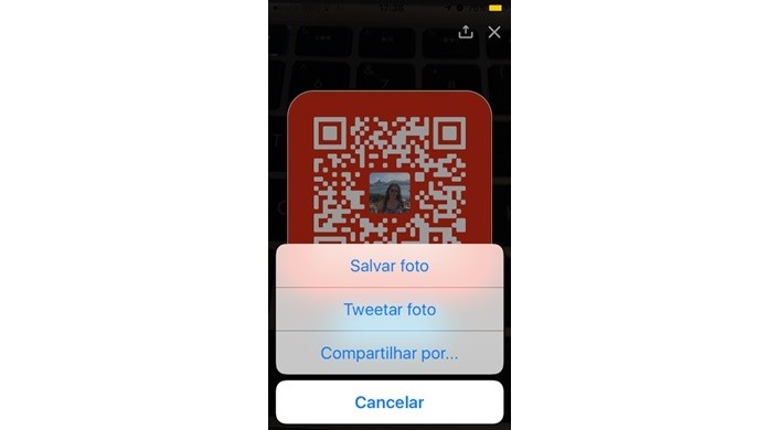 Compartilhar QR Code nas redes sociais