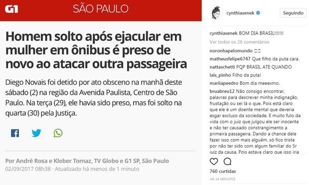 Post de Cynthia Senek (Foto: Reprodução/Instagram)