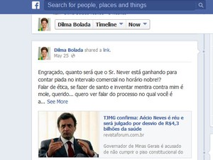 """Post publicado no perfil """"Dilma Bolada"""" foi removido pelo Facebook no sábado (27) e voltou ao ar nesta quarta-feira (29). (Foto: Reprodução/Facebook)"""