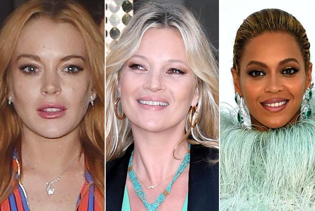 Lindsay Lohan, Kate Moss e Beyoncé (Foto: AKM-GSI / Getty Images)