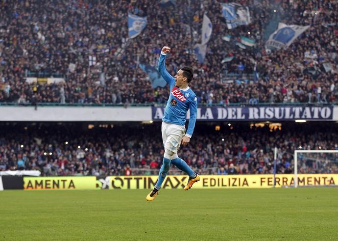 Callejón comemora gol do Napoli no San Paolo (Foto: Reuters/Ciro de Luca)