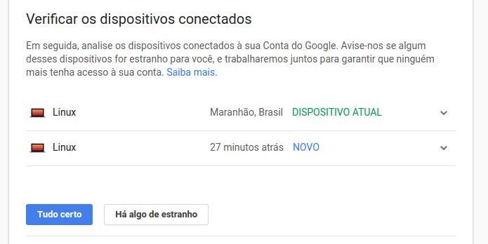 Consultando os dispositivos conectados na Conta Google (Foto: Reprodução/Edivaldo Brito)