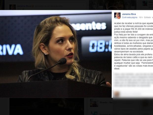 Deputada Janaína Riva comentou em uma rede social sobre a indenização por danos morais (Foto: Reprodução/ Facebook)