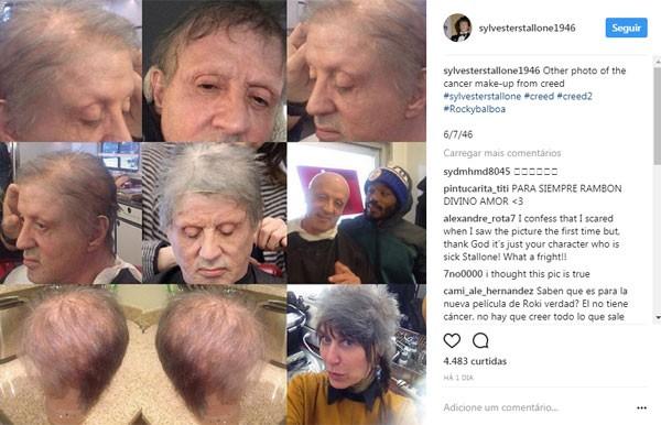 Reunião do processo de maquiagem de Stallone em Creed 2 (Foto: Reprodução instagram)