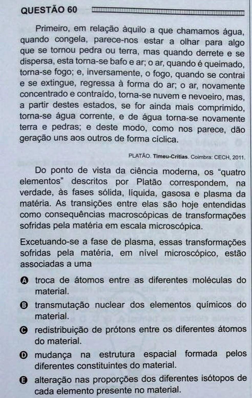 ENEM 2016 - 1º DIA - PROVA BRANCA - QUESTÃO 60 (Foto: G1 )