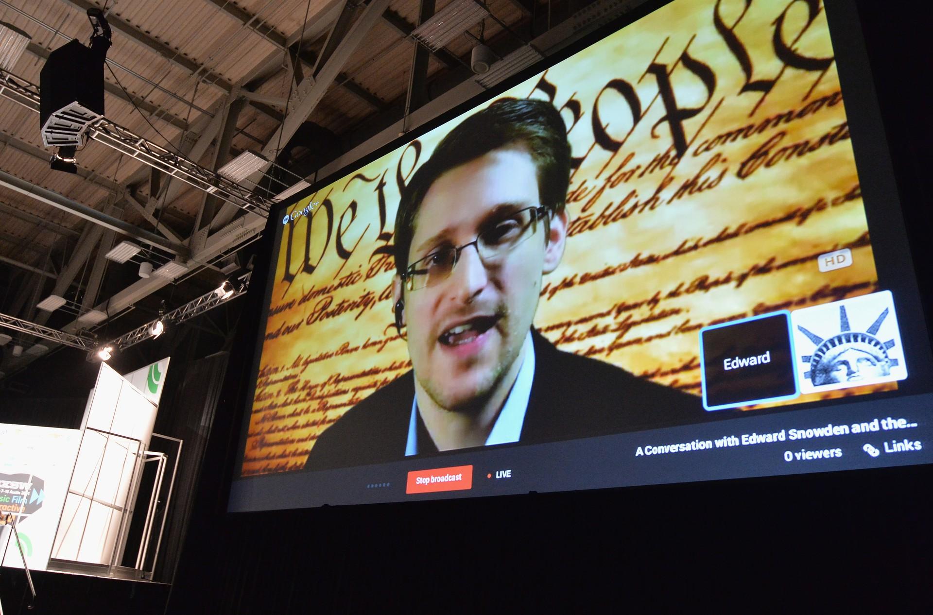 Snowden, em videoconferência durante o SXSW (Foto: Reprodução)