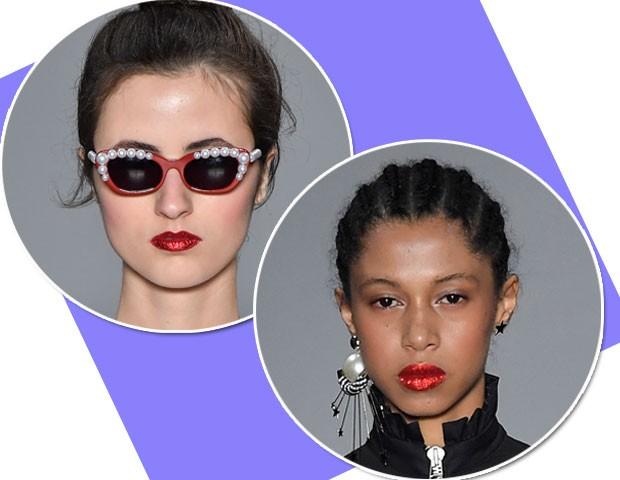 Na beleza de Juliana Jabour, Henrique Martins aplicou glitter nos lábios das modelos (Foto: Fotosite)