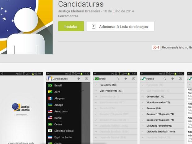 Aplicativo sobre dados de candidatos já está disponível para download (Foto: Reprodução)