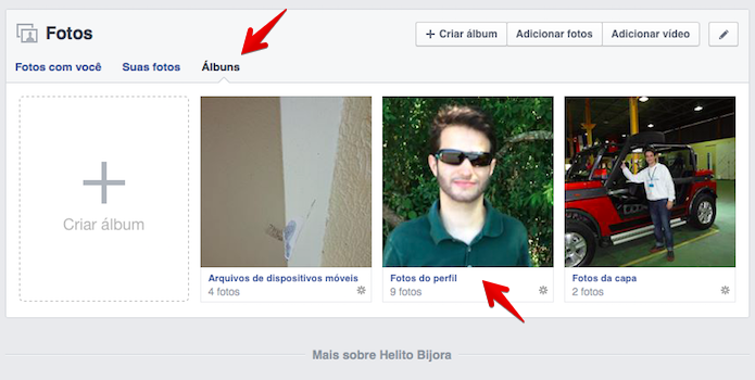 Abra o seu álbum de fotos do perfil (Foto: Reprodução/Helito Bijora)