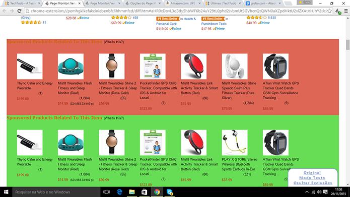 Page Monitor exibe página de loja com mudanças de itens e de ofertas (Foto: Reprodução/Elson de Souza)