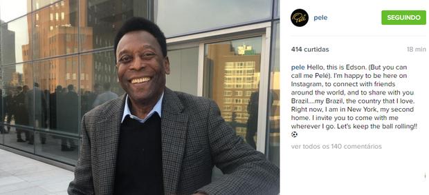 """BLOG: Pelé entra para o Instagram com declaração ao Brasil: """"O país que eu amo"""""""
