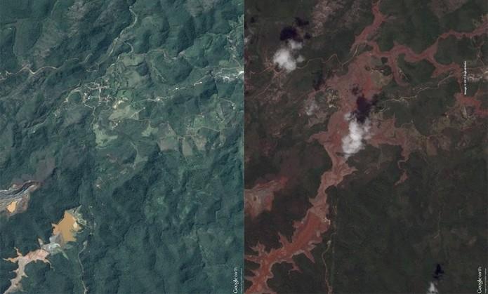 Google Earth permite visualizar imagens de Mariana (MG) (Foto: Reprodução/Google Earth)