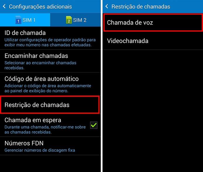 Acesse o menu de restrição de chamadas (Foto: Reprodução/Paulo Alves)