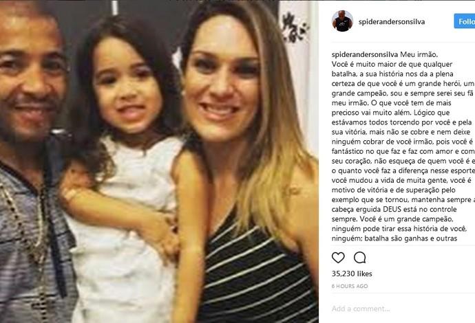 Post Anderson Silva José Aldo UFC (Foto: Reprodução/Instagram)