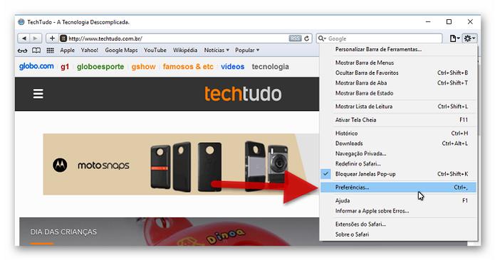 Acessando as preferências do navegador Safari (Foto: Reprodução/Helito Bijora)